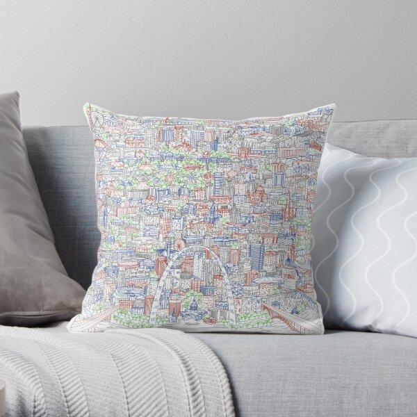 St Louis Skyline Map Illustration Throw Pillow