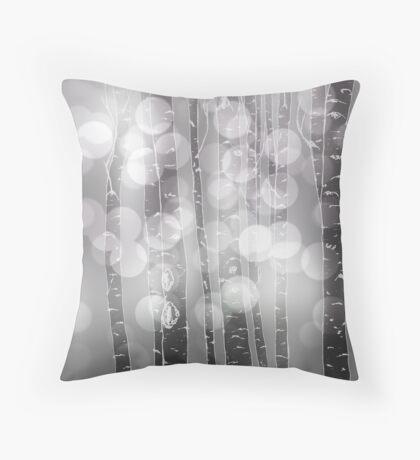 Aspens or Birches Grey Throw Pillow
