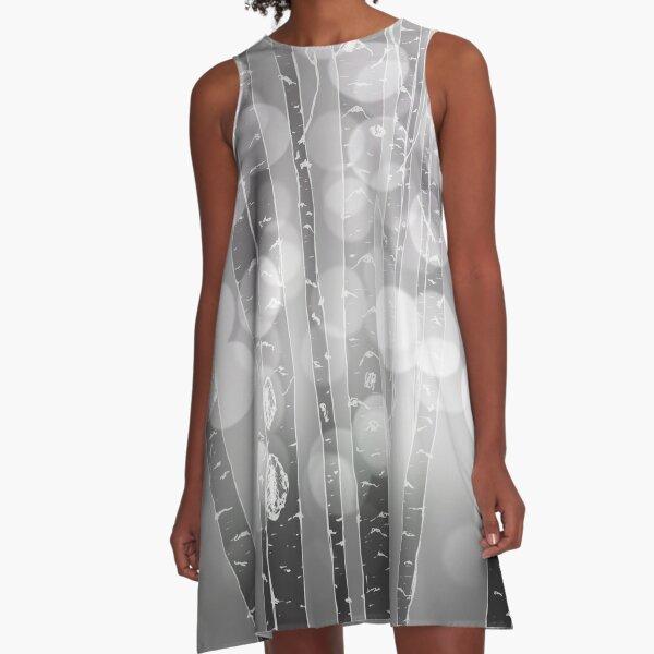 Aspens or Birches Grey A-Line Dress