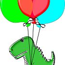 Cute And Angry Dino Flying With Party Balloons by Almdrs