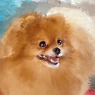 Red Carpet Pomeranian by Lois  Bryan