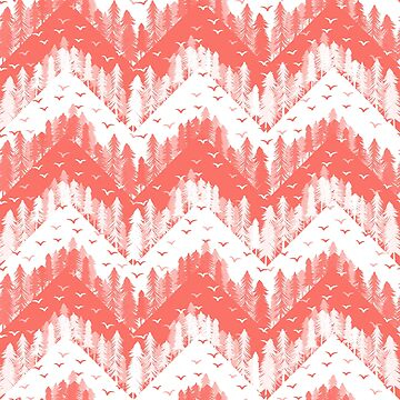 living coral forest chevron  by B0red