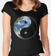 Earth and Space Yin Yang Symbol Women's Fitted Scoop T-Shirt