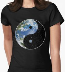 Earth and Space Yin Yang Symbol Women's Fitted T-Shirt