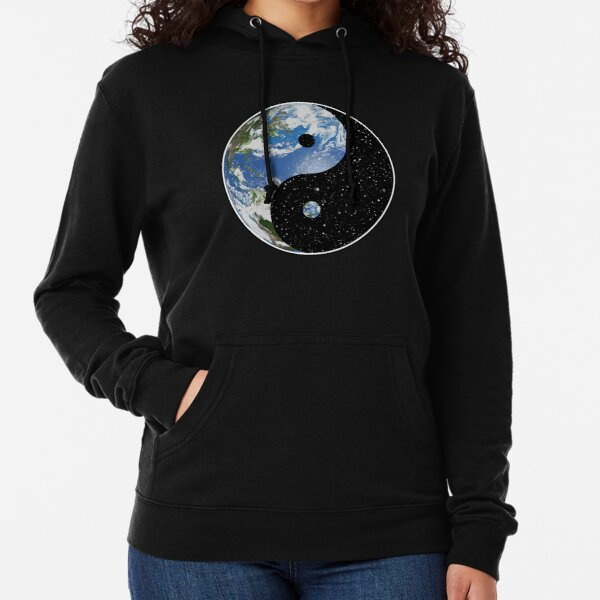 Earth and Space Yin Yang Symbol Lightweight Hoodie