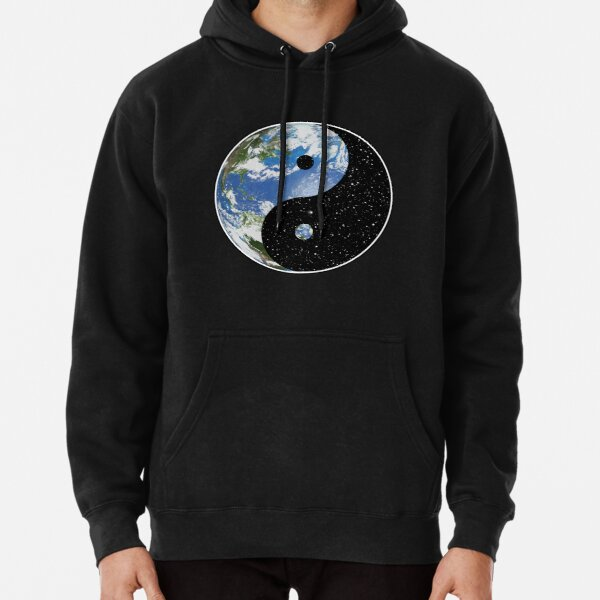 Earth and Space Yin Yang Symbol Pullover Hoodie