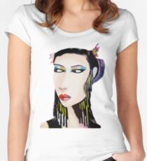 Unique Modern Geisha  Women's Fitted Scoop T-Shirt