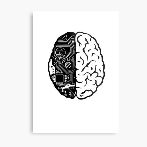 Coding Brain Metal Print
