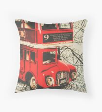 Bus line art Throw Pillow