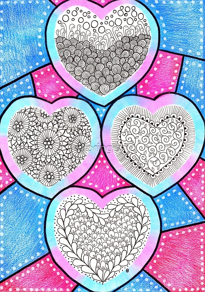 Colored Pencil Doodle Art   Doodle Hearts by coloringiship