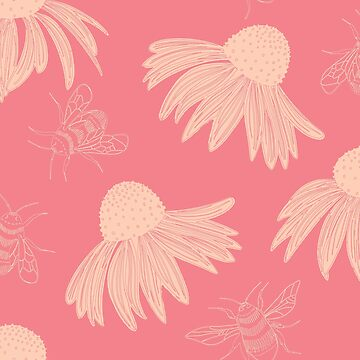 Design 71 - Bees and coneflowers by divafern