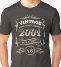 18th Birthday Gift Gold Vintage 2001 Aged Perfectly Unisex T-Shirt