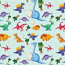 Cartoon Dinosaur Seamless Pattern by Twosided