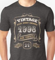 21st Birthday Gift Gold Vintage 1998 Aged Perfectly Slim Fit T-Shirt