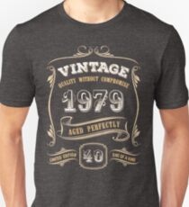 40th Birthday Gift Gold Vintage 1979 Aged Perfectly Slim Fit T-Shirt