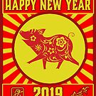 Happy Chinese New Year of The Pig 2019 Paper cut Lucky by funnytshirtemp