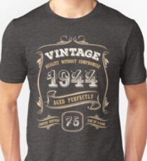 b971e974 75th Birthday Gift Gold Vintage 1944 Aged Perfectly Slim Fit T-Shirt