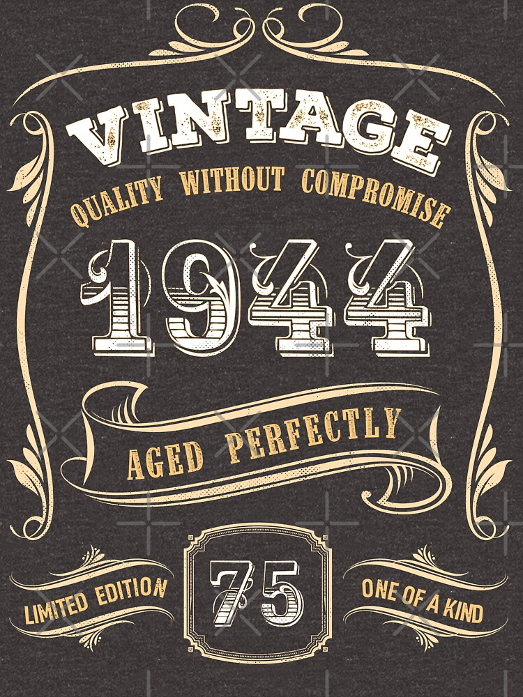 75th Birthday Gift Gold Vintage 1944 Aged Perfectly by yetbubble