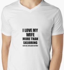 Skijoring Husband Funny Valentine Gift Idea For My Hubby Lover From Wife Men's V-Neck T-Shirt
