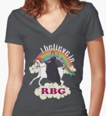 Rainbow I Believe In RBG Ruth Riding Unicorn Women's Fitted V-Neck T-Shirt