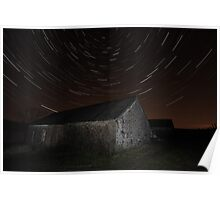 Star trails at Loch Thom, Scotland Poster