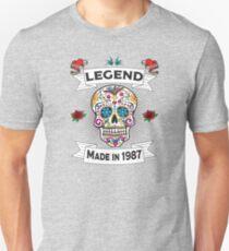 32nd Birthday Design - Sugar Skull Legend Made In 1987 Slim Fit T-Shirt
