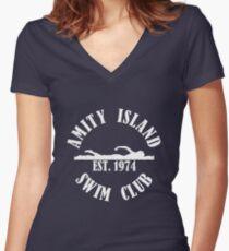Amity Island Swim Club White Women's Fitted V-Neck T-Shirt