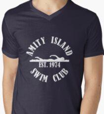 Camiseta para hombre de cuello en v Amity Island Swim Club White