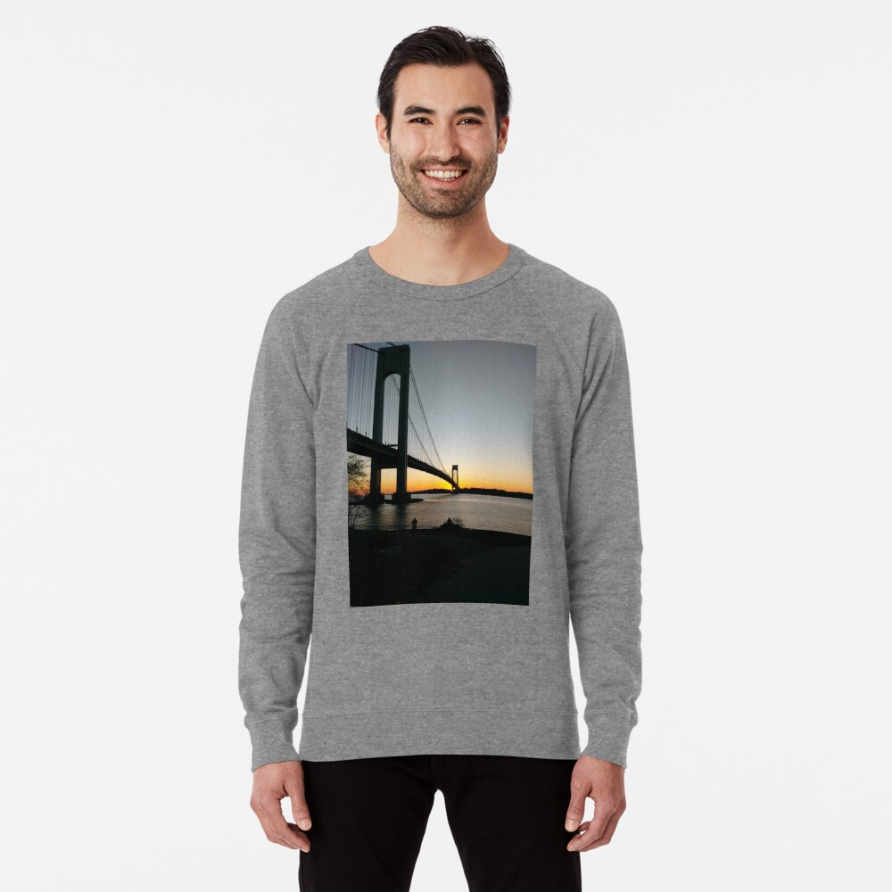 #BayRidge #famousplace #internationallandmark #VerrazanoNarrowsBridge #BathBeach #NewYorkCity #USA #americanculture #water #suspensionbridge #architecture #travel #sunset #sky #river #reflection: Lightweight Sweatshirt