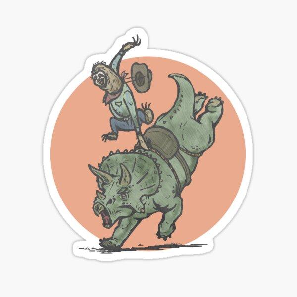 Rodeo Sloth Riding Dinosaur Sticker
