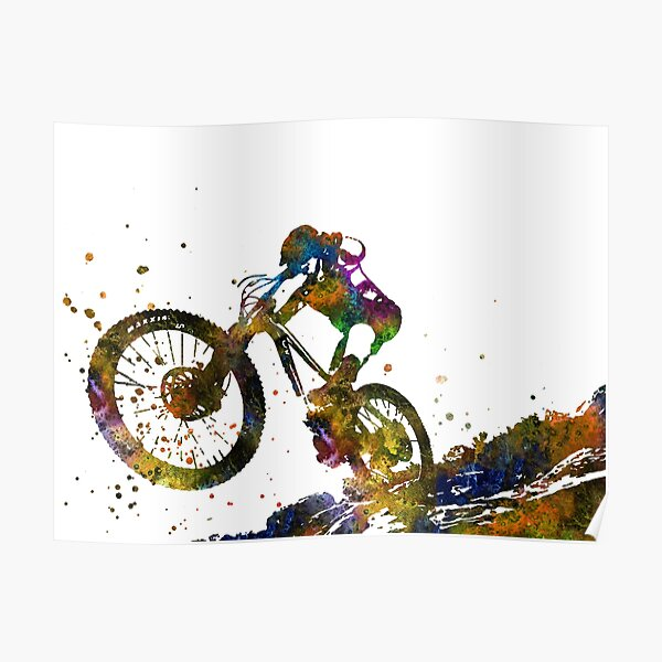Mountain biking, mountain bike, sport Poster