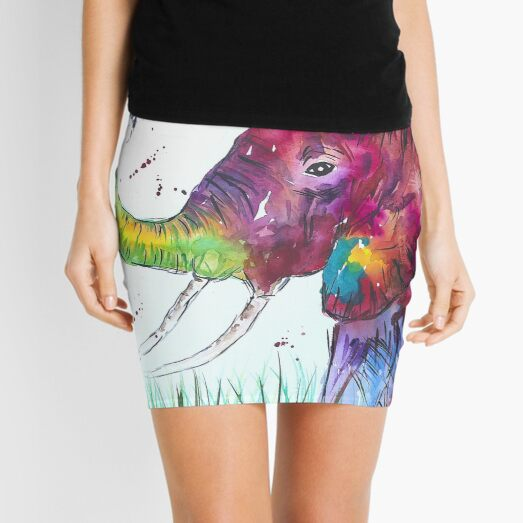 Colorful Large Elephant and a Bumble bee Mini Skirt