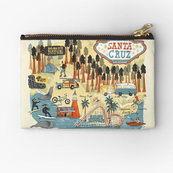 Santa Cruz California illustrated map Zipper Pouch