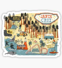 Santa Cruz California illustrated map Sticker