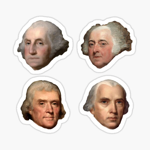 President Sticker 4-PACK   First 4 Presidents of the United States Sticker