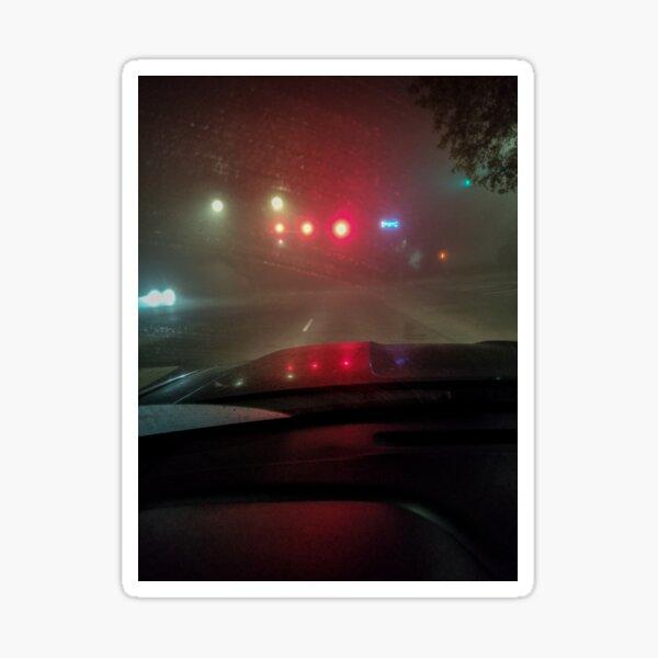 Late night drive in the fog Sticker