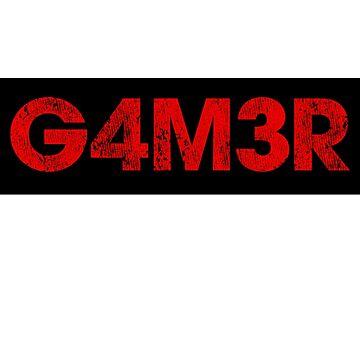 Gamer Design G4M3R Leet Speak by gorillamerch