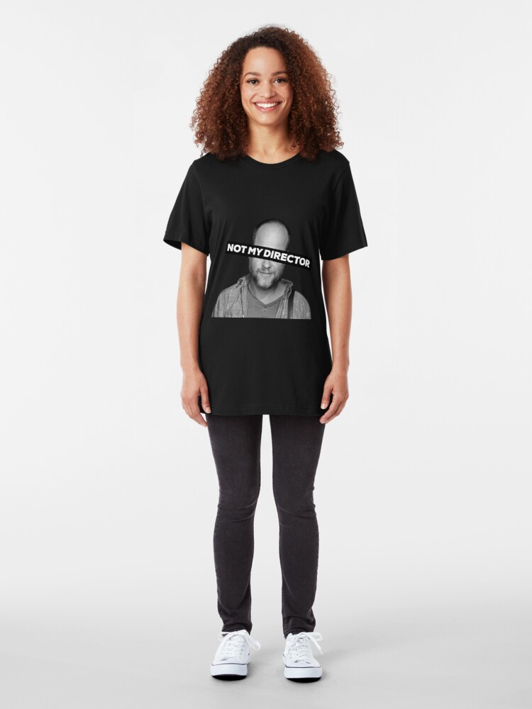 """Alternate view of Joss Whedon """"Not My Director"""" Slim Fit T-Shirt"""