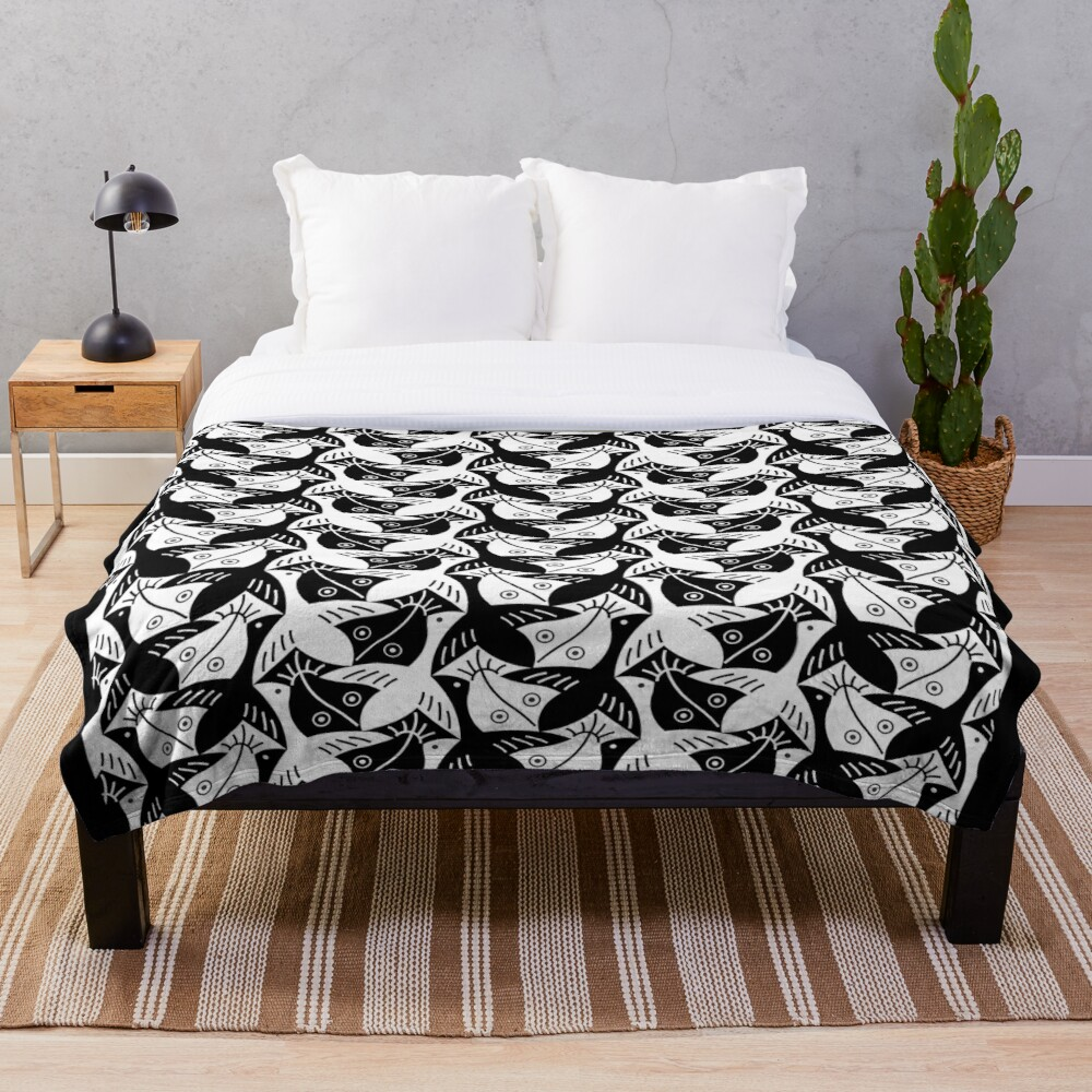 Escher Bird or Fish Throw Blanket