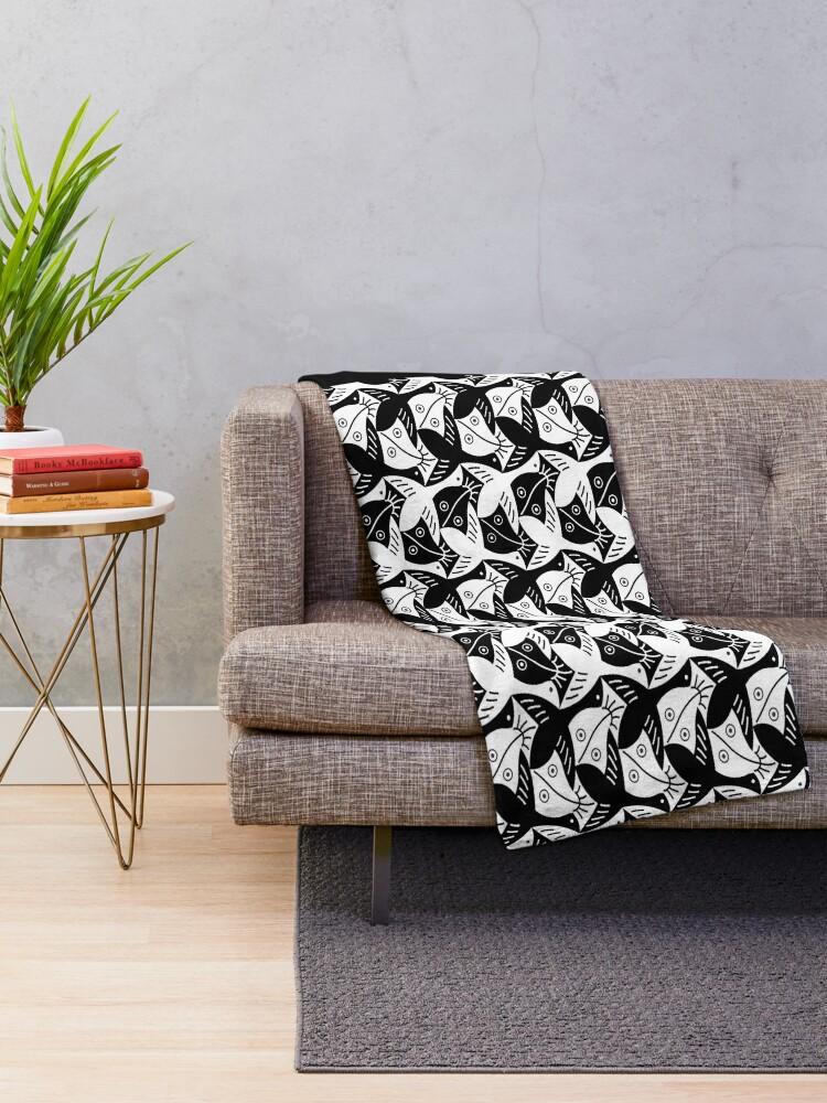 Alternate view of Escher Bird or Fish Throw Blanket