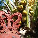 Balinese roof ornament and coconut palm by Michael Brewer