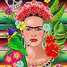 Frida Kahlo Floral Exotic Portrait by BluedarkArt