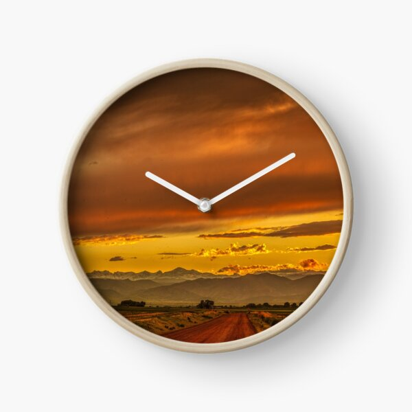 Sunset In Gold And Red Clock