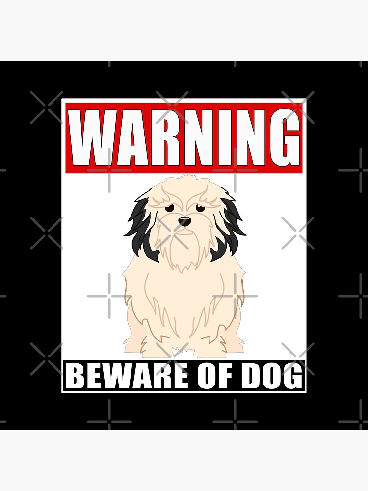 Warning Lowchen Beware Of Dog Sticker - Funny Gift For Lowchen Dog Owner by dog-gifts