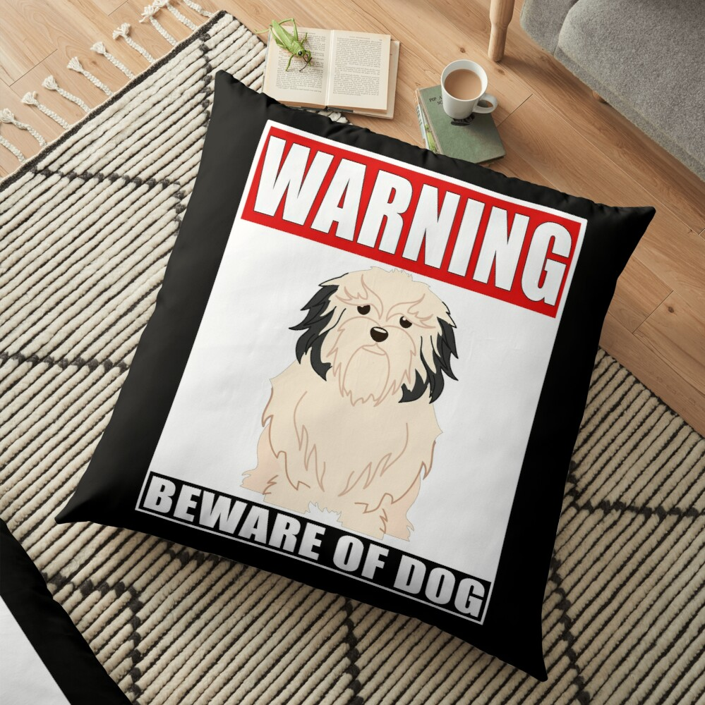 Warning Lowchen Beware Of Dog Sticker - Funny Gift For Lowchen Dog Owner Floor Pillow