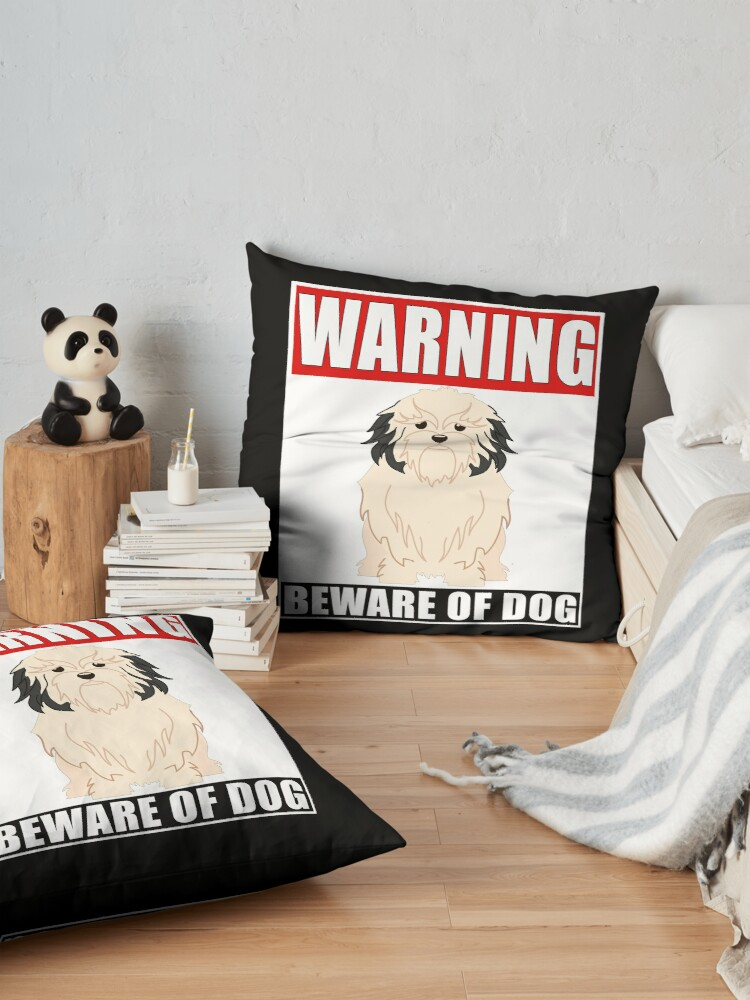 Alternate view of Warning Lowchen Beware Of Dog Sticker - Funny Gift For Lowchen Dog Owner Floor Pillow