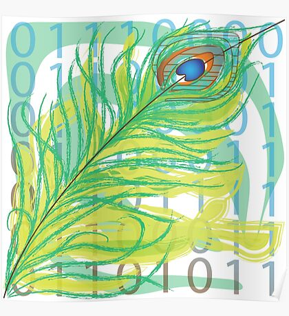 peacock feather with binary code writing Poster