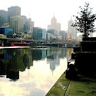 Misty Reflections of Melbourne City in Yarra River. Vic. Aust. by EdsMum
