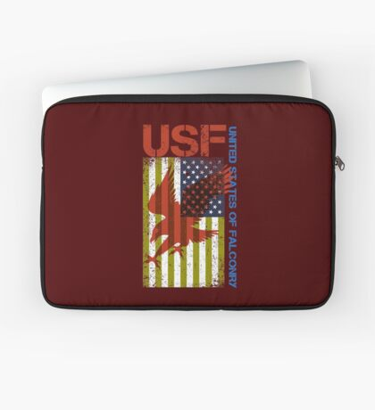 Funny Falconry Supplies, United States of Falconry - Hawking Shirts and Gifts for Falconers Laptop Sleeve