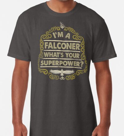 Funny Falconer's Gifts and Apparel - Vintage Styled Falconry Superpower Scroll Long T-Shirt